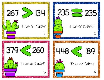 Lookin' Sharp! Comparing Numbers Task Cards