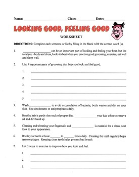 Looking & Feeling Good About Yourself Lesson