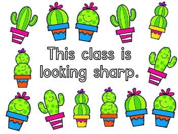 Looking Sharp - Cactus Bulletin Board Set - Editable