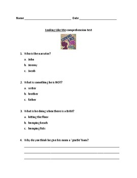 Looking Like Me by Walter Dean Myers comprehension test