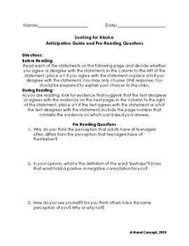 Looking for Alaska: Anticipation Guide and Pre-Reading Questions