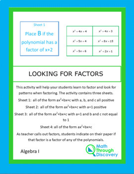 Algebra 1 and 2:  Looking for Factors