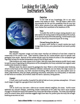 Looking for Life, Locally (Astronomy)