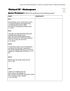 Looking for Richard and Richard III- Teacher Text Guide & Worksheets