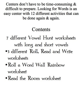 Looking for Words Literacy Center