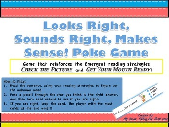 Looks Right, Sounds Right, Makes Sense! Poke Game (Emergent Reader Strategies)
