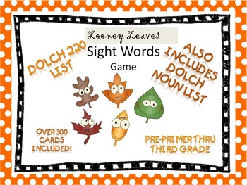 Looney Leaves Sight Words flashcards and game