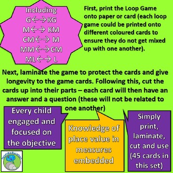 Loop Game - Place value in measures (weight, capacity and length)