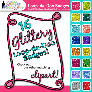 Loop-de-Doo Frame Clip Art {Rainbow Glitter Labels for Wor