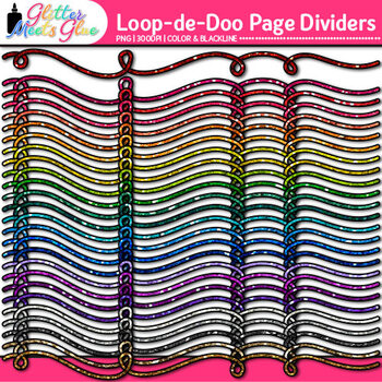 Loop-de-Doo Page Dividers Clip Art | Rainbow Glitter Borders for Worksheets