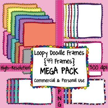 Loopy Doodle Frames MEGA PACK {Scalloped Borders} for Comm