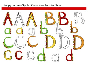 Loopy Letters Clipart:  Line Art and 2 Colors