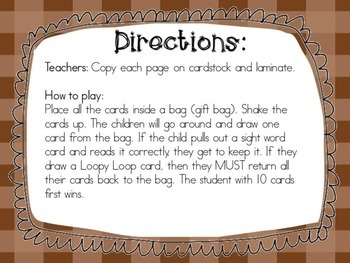 Sight Word Game: Loopy Loop-Fall Edition