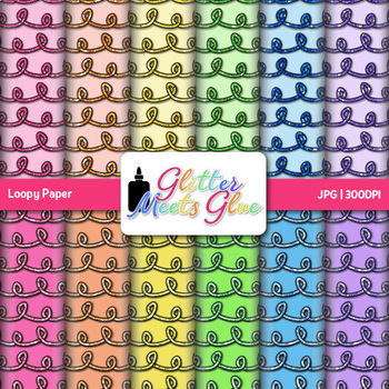 Rainbow Loopy Paper {Scrapbook Backgrounds for Task Cards & Brag Tags}