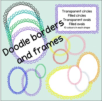 Loopy doodle border frames - circles and ovals