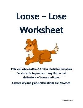 Loose - Lose Worksheet for Grades 6-9