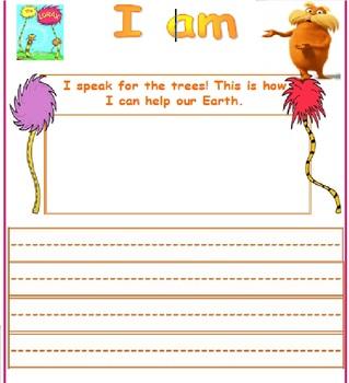 Lorax Earth Day Writing