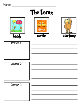Lorax Movie & Book Opinion Writing