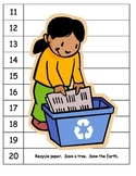 Skip counting Earth Day Recycle number puzzles ESL COMMON CORE
