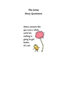 Lorax Story Questions