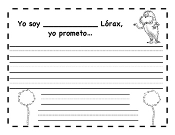Lorax Writing Template - Escritura para el Lórax