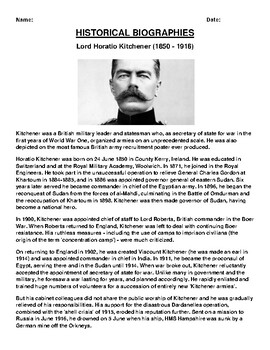 Lord Horatio Kitchener Biography Article and (3) Assignments