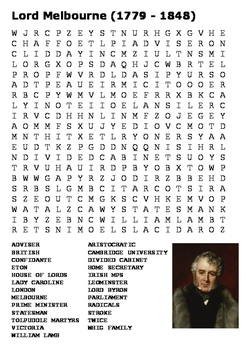 Lord Melbourne Word Search
