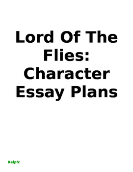 Lord Of The Flies: Character Essay Plans