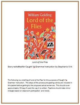 Lord of Flies Caught Ya Grammar Daily Bell Ringer Activities (DOL) with Vocab