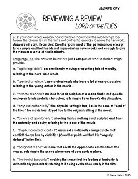 Lord of the Flies Activity Movie Review