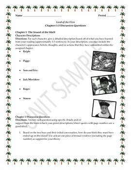 Lord of the Flies Activities and Quizzes BUNDLE PACK