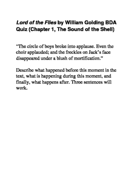Lord of the Flies BDA Quizes (All 12 chapters)