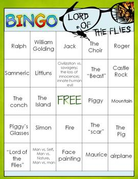 LORD OF THE FLIES BINGO: INSTRUCTIONS, GAME BOARDS, AND CALL SHEET