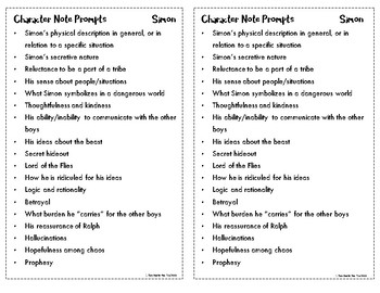 Lord of the Flies Blank Notecards and Prompts for Notetaking