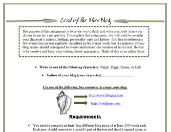 Lord of the Flies Blog Activity-Digital Writing, Reading, & Textual Analysis