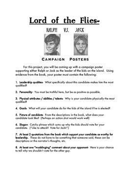 lord of the flies campaign poster activity by jon perry tpt. Black Bedroom Furniture Sets. Home Design Ideas
