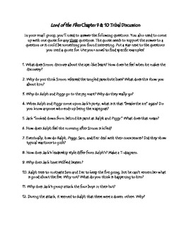Lord of the Flies Ch. 9-10 Discussion Questions