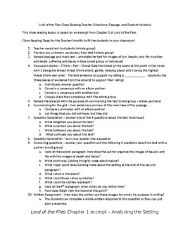 Lord of the Flies Chapter 1 Close Reading Activity