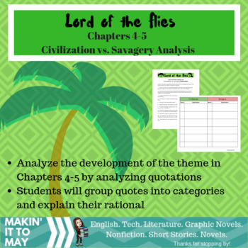 Lord of the Flies: Chapter 4-5 Civilization vs. Savagery Exploration