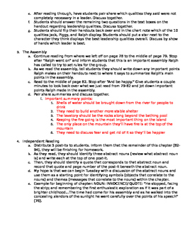 Lord of the Flies Chapter 5--Examining Leadership