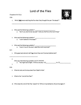 Lord of the Flies Chapter 6-8 Quiz