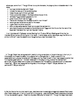 Lord of the Flies Chapter 7 Discussion Questions