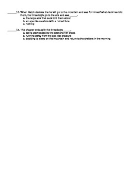 Lord of the Flies Chapter 7 Reading Quiz