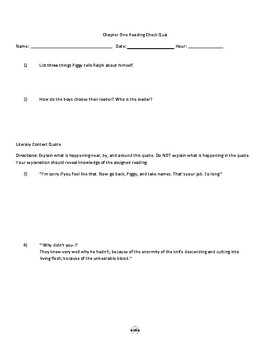 Lord of the Flies Chapter One Quiz