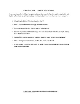 Lord of the Flies - Chapter Question Package