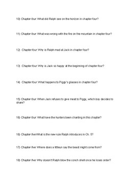 Lord of the Flies: Chapter Questions and Final Quiz