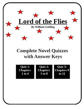 Lord of the Flies complete quiz set with answer keys