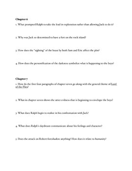 Lord of the Flies Chapter Reading Questions