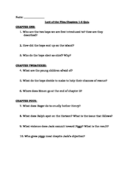 Lord of the Flies Chapters 1-6 Quiz