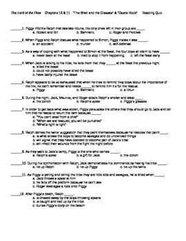 Lord of the Flies Chapters 10 and 11 Reading Quiz